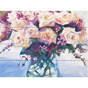 Trademark Fine Art David Lloyd 'Roses in Glass' Wood Slat Art
