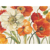 Trademark Fine Art Lisa Audit Poppies Melody I Wood Slat Art