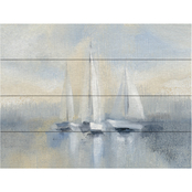 Trademark Fine Art Silvia Vassileva Morning Sail I Blue Wood Slat Art