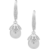 Anne Klein Silvertone White Faux Pearl Crystal Leverback Earrings
