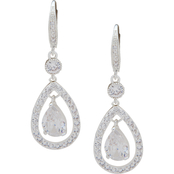Anne Klein Silvertone Crystal Pave Orbital Earrings