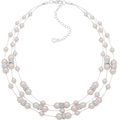 Anne Klein Silvertone Crystal Pink Faux Pearl Necklace
