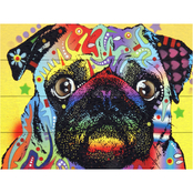 Trademark Fine Art Dean Russo Pug Wood Slat Art