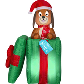Gemmy Animated Airblown Pop Up Puppy in Present Scene