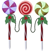 Gemmy Christmas Color Changing Pathway Stakes S/3 Glitter Lollipops