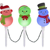 Gemmy Christmas Color Changing Pathway Stakes S/3 Snowman Family