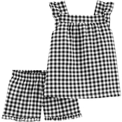Carter's Little Girls Gingham Tank and Shorts 2 pc. Set