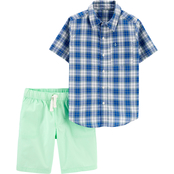 Carter's Little Boys 2 pc. Plaid Button Front Shirt and Poplin Shorts Set