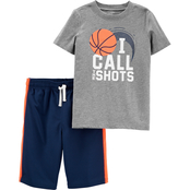 Carter's Little Boys 2 pc. Call The Shots Jersey Tee and Mesh Shorts Set