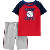 Carter's Little Boys 2 pc. Great Catch Jersey Tee and Shorts Set