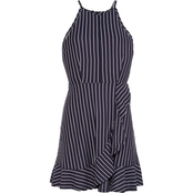 Speechless Juniors Knit Stripe Hi Neck Dress with Ruffle