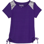 Pony Tails Little Girls Stretch Knit Top with Sequins Trim
