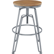 Linon Wood and Metal Adjustable Stool