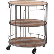 Linon Ani 3 Tier Metal and Wood Rolling Cart