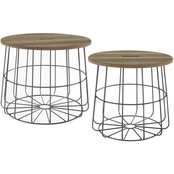 Linon Cam Metal and Wood Nesting Basket Tables