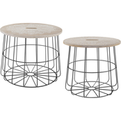 Linon Shae Medallion Nesting Basket Tables