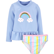 Carter's Toddler Girls Rainbow Rashguard 2 pc. Set