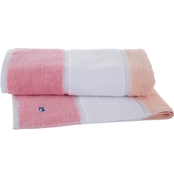 Southern Tide Performance Stripe Coral Bath Towel