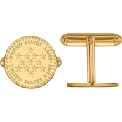 18K Gold Over Sterling Silver United States Army Disc Cuff Links