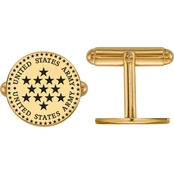 18K Gold Over Sterling Silver United States Army Epoxied Disc Cuff Links