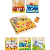 Hey! Play! Vehicle Block Puzzle 6-in-1 Set of Patterns