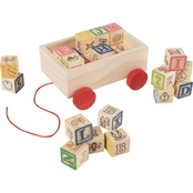 Hey! Play! Alphabet Building Blocks with Wooden Cart