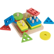 Hey! Play! Wooden Geometric Sorting and Stacking Blocks