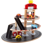 Hey! Play! 3 Level Wooden Service Station Parking Garage Toy