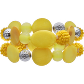 jules b Yellow Two Row Beaded Stretch Bracelet