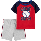 Carter's Infant Boys 2 pc. Baseball Jersey Tee and French Terry Shorts Set