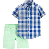 Carter's Infant Boys Plaid Button Front Shirt and Poplin Shorts 2 pc. Set