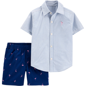 Carter's Infant Boys Striped Button Front Shirt and Flamingo Shorts 2 pc. Set