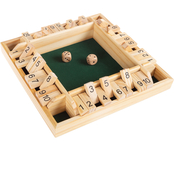 Hey! Play! Shut The Box Game with Classic 10 Number Wooden Set