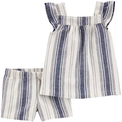Carter's Toddler Girls Striped Linen Tank and Shorts 2 pc. Set