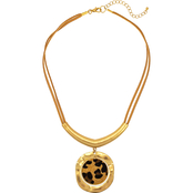 Carol Dauplaise Goldtone Leopard Short Suede Necklace