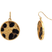 Carol Dauplaise Goldtone Leopard Round Drop Earrings