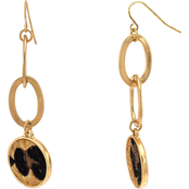 Carol Dauplaise Goldtone Leopard Double Drop Link Linear Earrings