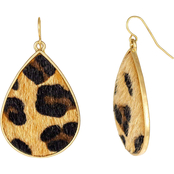 Carol Dauplaise Goldtone Leopard Tear Drop Earrings