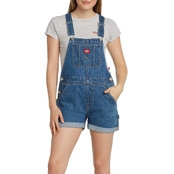 Dickies Girl Juniors Relaxed Fit Carpenter Roll Hem Shortalls