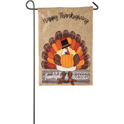 Evergreen Thankful and Blessed Turkey Garden Burlap Flag