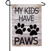 Evergreen My Kids Have Paws Garden Burlap Flag