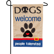 Evergreen Dogs Welcome People Tolerated Garden Burlap Flag