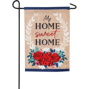 Evergreen Patriotic Floral Home Sweet Home Garden Burlap Flag