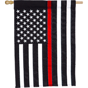 Evergreen Thin Red Line House Applique Flag