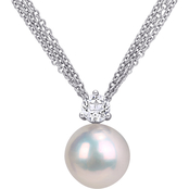 Michiko Sterling Silver Freshwater Cultured Pearl and White Topaz Pendant