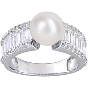 Michiko Sterling Silver Cultured Freshwater Pearl and Created White Sapphire Ring