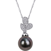 Michiko 10K White Gold Tahitian Cultured Pearl 1/10 CTW Diamond Leaf Drop Pendant
