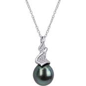 Michiko Sterling Silver Tahitian Cultured Pearl and 1/10 CTW Diamond Twist Necklace