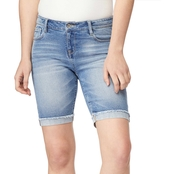 Wallflower Juniors Denim Legendary Vintage 9 in. Bermuda Shorts