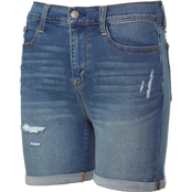 Wallflower Juniors Denim Irresistible High Rise 5 in. Midi Shorts